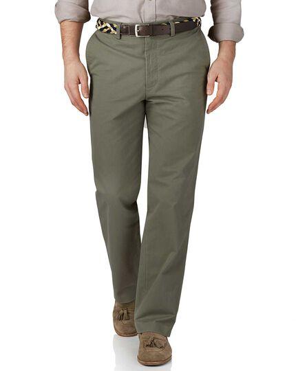 Pantalon chino vert clair coupe droite et devant plat