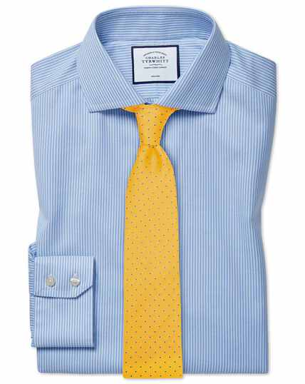 Extra slim fit cutaway collar non-iron cotton stretch Oxford sky blue stripe shirt