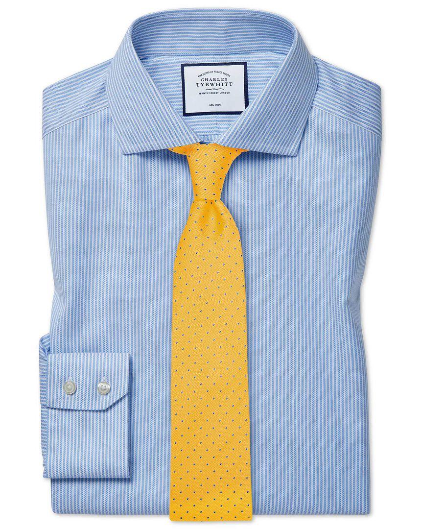 Extra slim fit cutaway non-iron cotton stretch Oxford sky blue stripe shirt