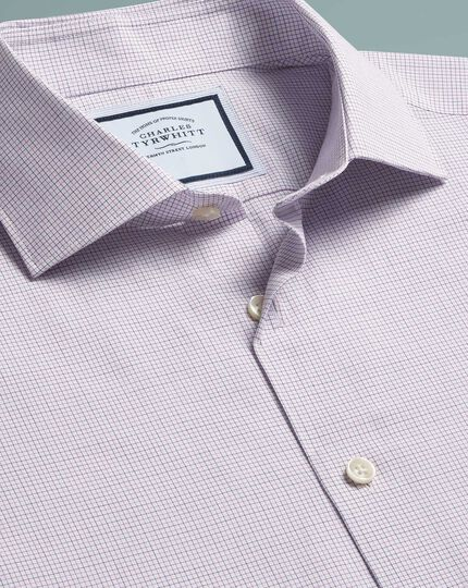 Slim fit peached Egyptian cotton purple check shirt