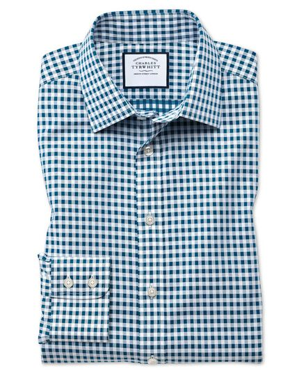 Classic fit non-iron gingham teal shirt