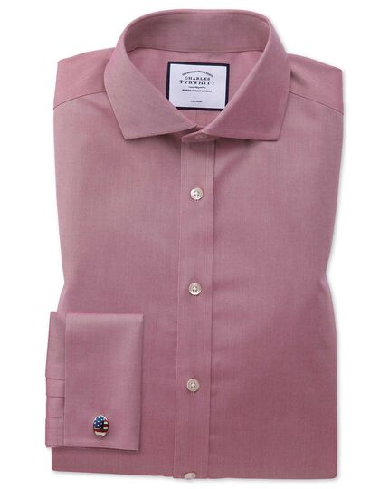 Slim fit non-iron cutaway collar red twill shirt
