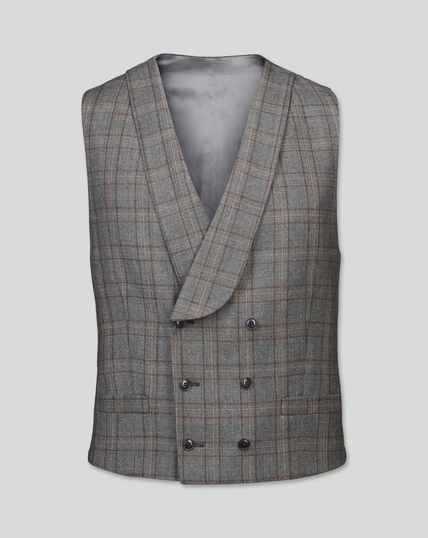 British Luxury Check Suit Vest - Grey & Tan