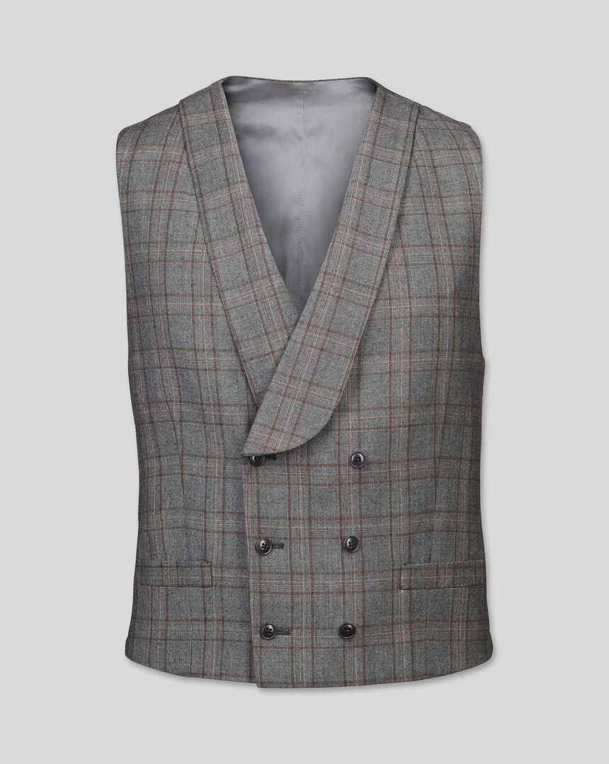 British Luxury Check Suit Waistcoat - Grey & Tan