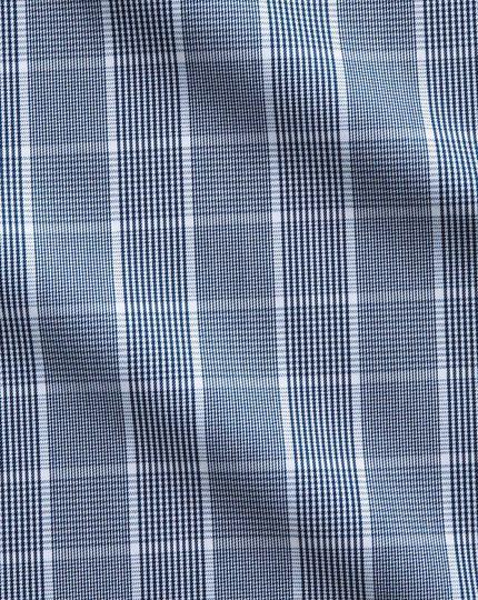 Bügelfreies Slim Fit Hemd in Marineblau und Weiß mit Prince-of-Wales-Karos