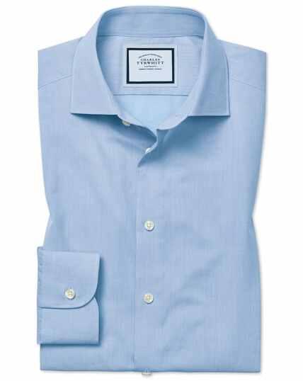 Chemise en coton égyptien effet peau-de-pêche bleu ciel à carreaux coupe droite