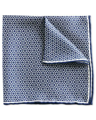 Navy and white classic lattice pocket square