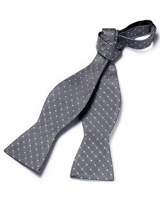 Grey textured spot self-tie bow tie