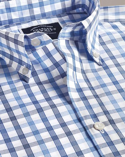 Classic fit non-iron white and blue large check shirt