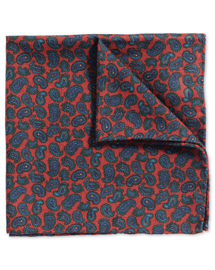 Light red green luxury English printed paisley pocket square