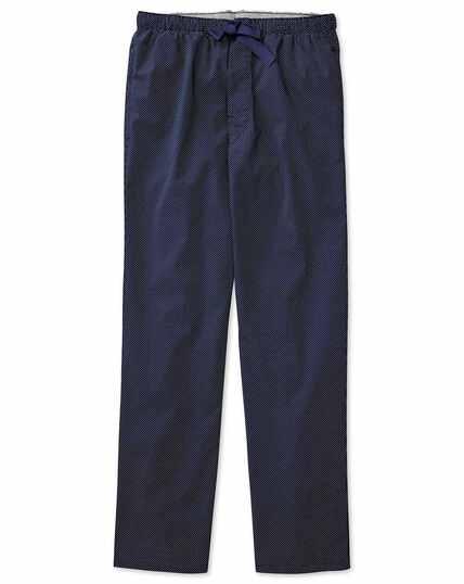 Pyjama Hose aus Baumwolle in Marineblau mit Punkten