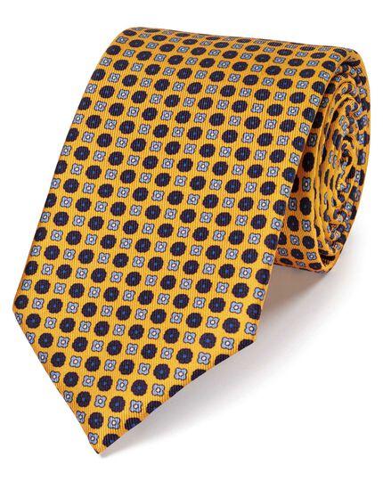 Gold silk printed classic tie