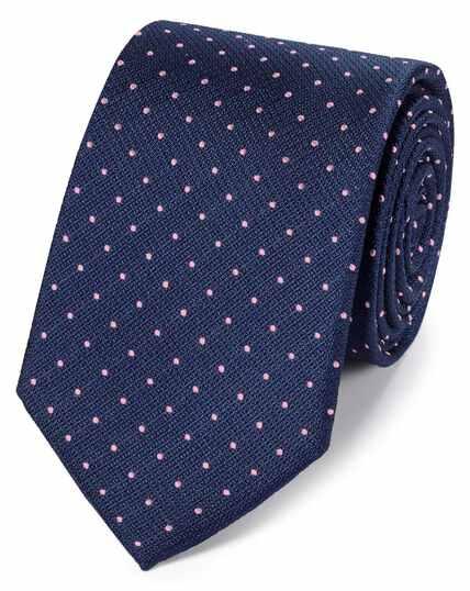 Cravate classique bleu marine et rose en tissu anti-taches