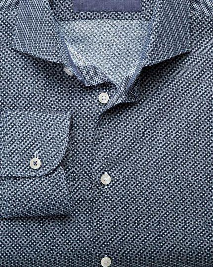 Classic Fit Business-Casual Hemd mit Semi-Haifischkragen in Marineblau mit Kreismotiv-Print