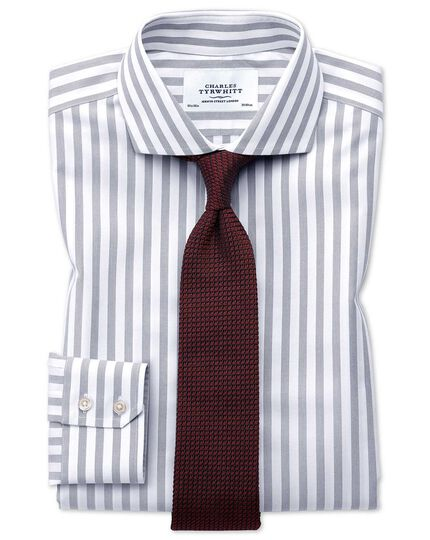 Slim fit spread collar non-iron wide stripe grey shirt