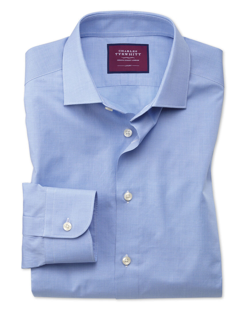Classic fit blue small puppytooth luxury shirt