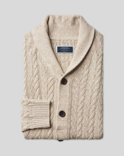 Linen Cotton Cable Shawl Neck Cardigan - Stone