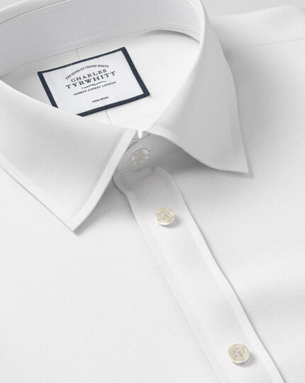 Classic Collar Non-Iron Herringbone Shirt  - White