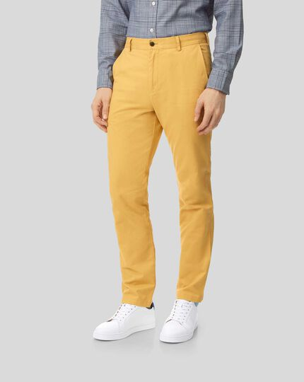 Flat Front Soft Washed Chinos  - Yellow