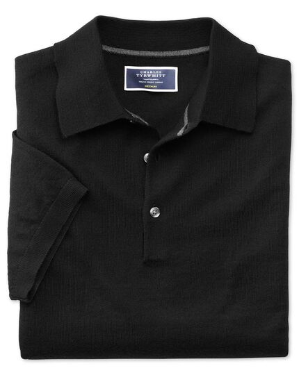 Black merino wool polo collar short sleeve sweater