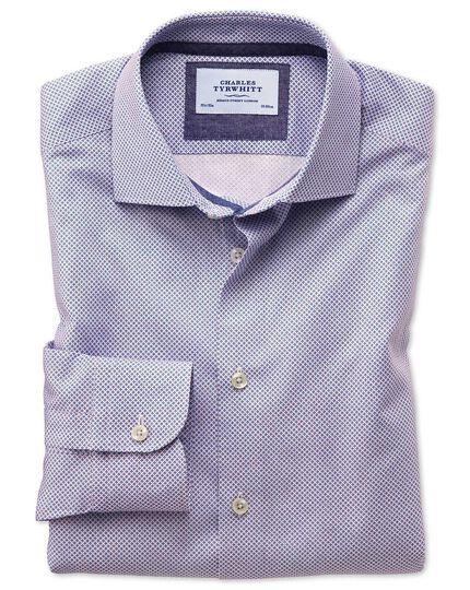 Slim fit semi-cutaway business casual motif print red and blue shirt