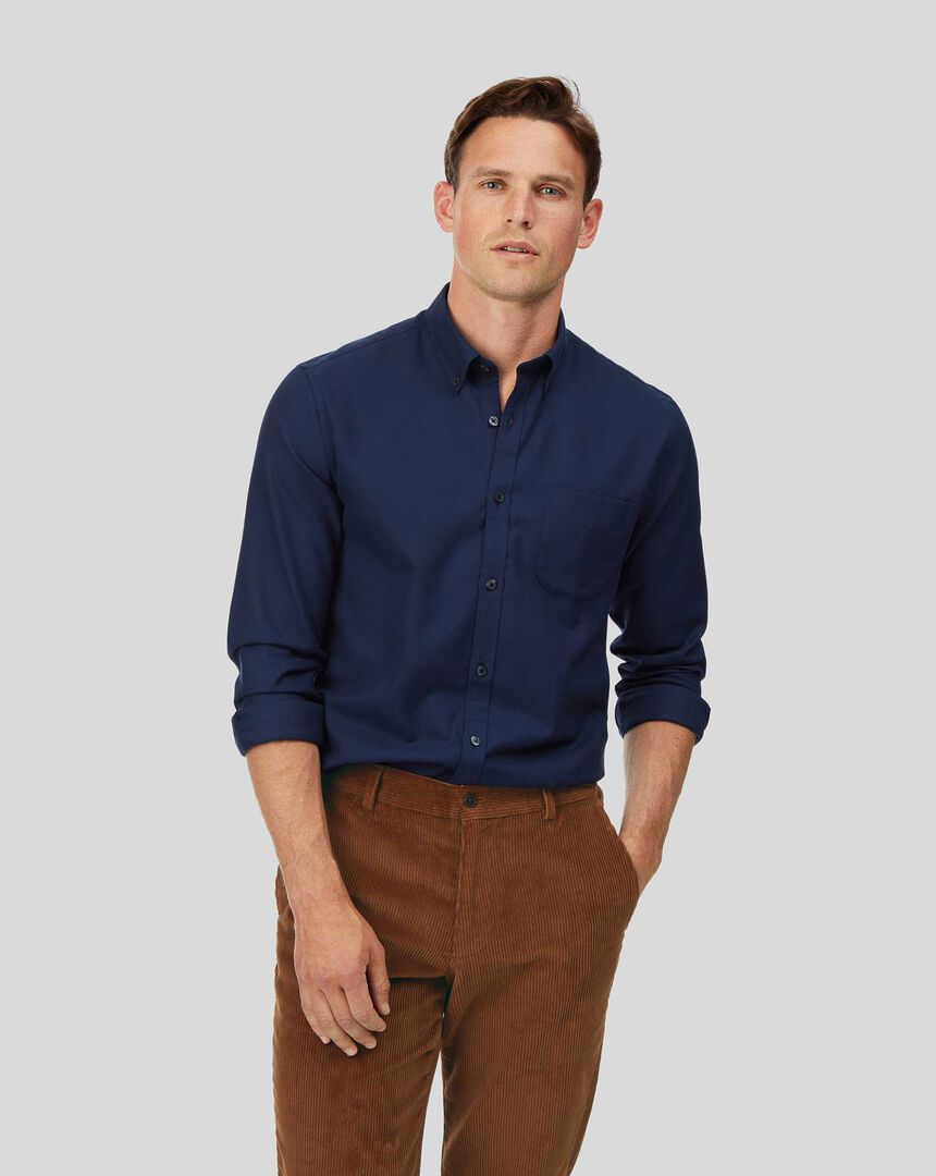 Vorgewaschenes bügelfreies Twill Hemd mit Button-down-Kragen - Dunkelblau