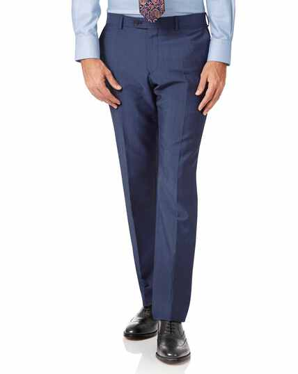 Blue slim fit Italian wool luxury suit pants
