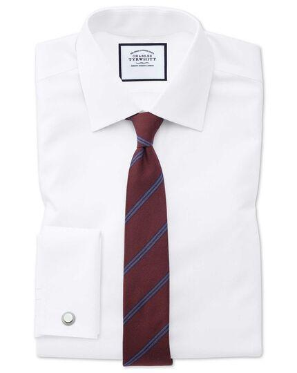 Schmale Krawatte aus Wolle und Seide mit Streifen in Burgunderrot