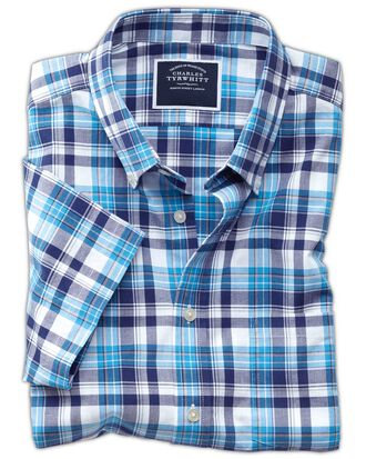 Classic Fit Kurzarmhemd aus Popeline in Marineblau