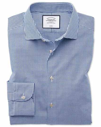 Bügelfreies Slim Fit Business-Casual-Hemd mit rechteckiger Struktur in Marineblau