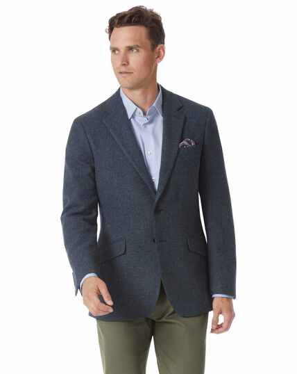 Slim fit indigo blue wool jacket