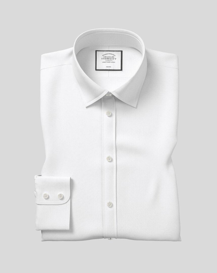 Bügelfreies Royal-Oxfordhemd mit Kent Kragen  - Weiß