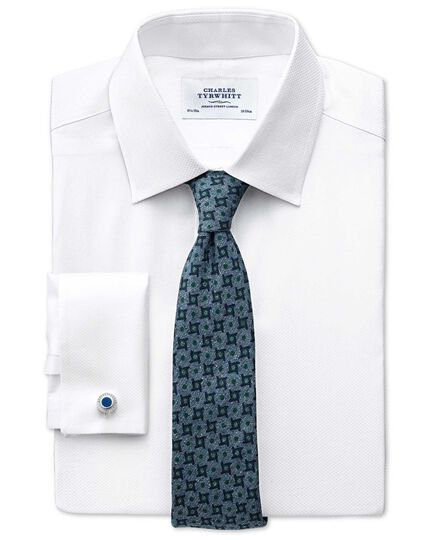Slim fit Pima cotton double-faced white shirt