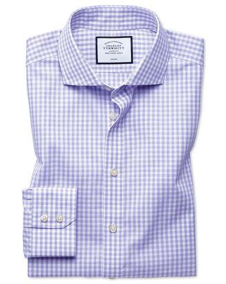Classic fit non-iton purple check Tyrwhitt Cool shirt