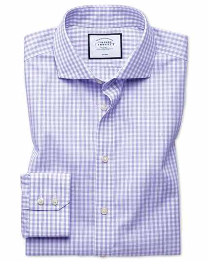 Classic fit non-iron purple check Tyrwhitt Cool shirt