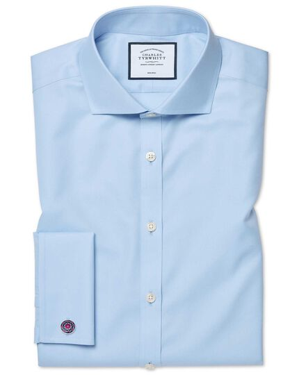 Chemise bleue super slim fit en twill sans repassage
