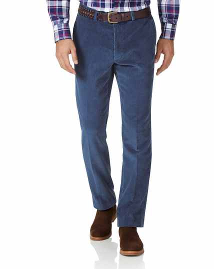 Airforce blue slim fit jumbo corduroy trousers