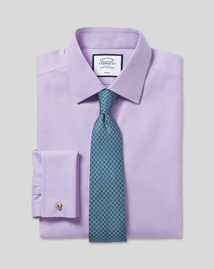 Classic Collar Non-Iron Mini Herringbone Shirt - Lilac