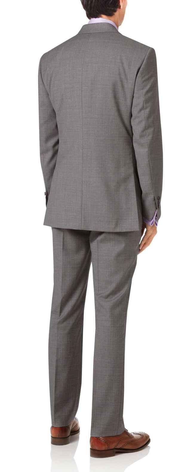 Slim Fit Anzug aus italienischem Stoff mit Kreuzschraffur in Silbergrau