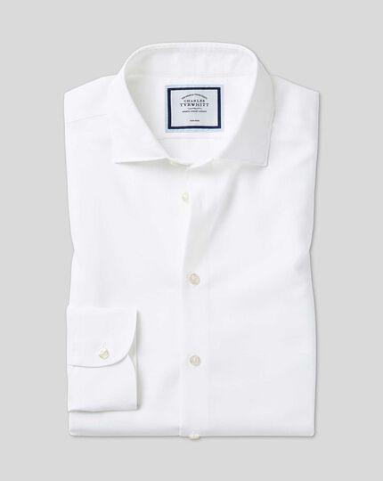 Chemise oxford coton et lin à col business casual sans repassage - Blanc
