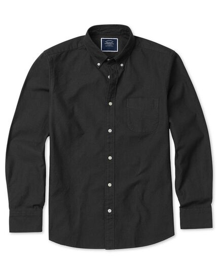Extra slim fit charcoal button-down washed Oxford plain shirt
