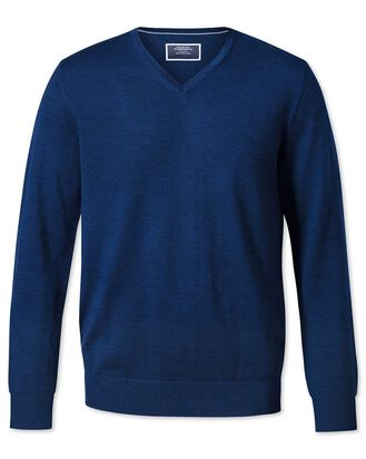 Royal blue v-neck merino jumper