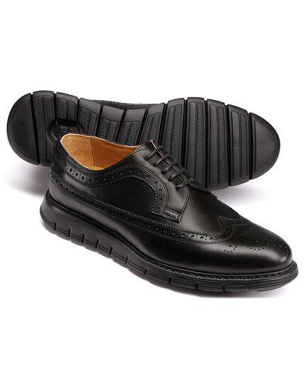 Black extra lightweight Derby brogue shoes