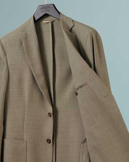 Slim fit fawn Italian wool blazer