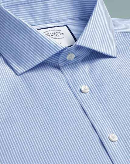 Slim fit cutaway  non-iron cotton stretch Oxford sky blue stripe shirt