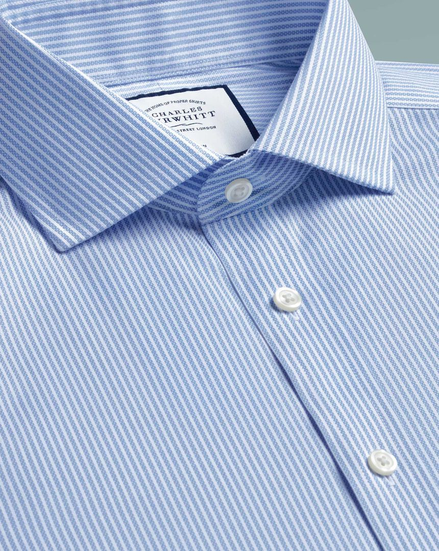 Spread Non-Iron Cotton Stretch Oxford Stripe Shirt - Sky Blue Stripe