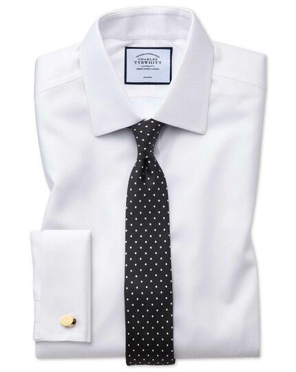 Chemise blanche avec armure à chevrons  super slim fit sans repassage