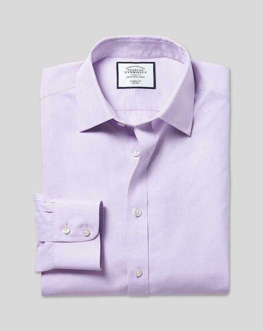 Classic Collar Non-Iron Poplin Shirt - Lilac