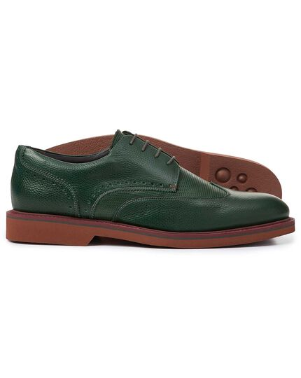 Green extra lightweight Derby wing tip shoes