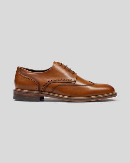 Flexible Sole Wing Tip Derby Shoe - Tan